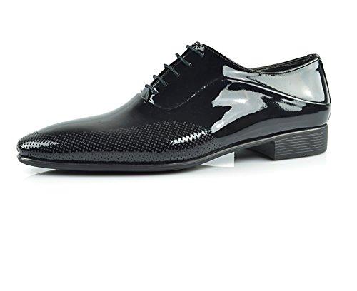CAPRIUM Lackschuhe Derbyschuhe Schuhe Business Glänzend, Herren E1526 Farbe Schwarz, Schuhgröße 42