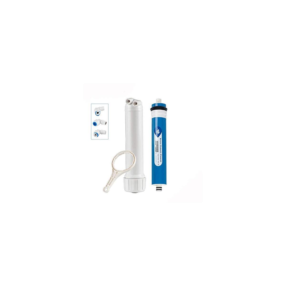 418uPZzXLRL. SS1200  - Membrane Solutions 100 GPD RO- Purificador de agua con carcasa y 3 accesorios para codo 1 llave