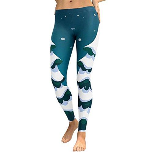 Yoga Hosen Herren Damen, DoraMe Männer Frauen Weihnachten Bedruckte Sport Leggings Bleistift Hose Geraffte Elastische Bund Hose (Grün, S)