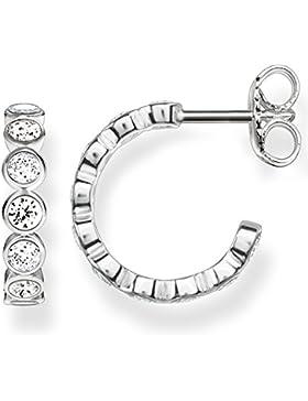 Thomas Sabo Damen-Ohrringe Creolen Glam & Soul 925 Sterling Silber Zirkonia weiß Höhe 1.3 cm CR595-051-14