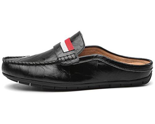 YIRUIYA Herren Leder Slipper Gentleman Pantoffel Schuhe Schwarz