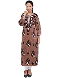 BDS Chikan Khadi Cotton Brown Colour Lucknow Chikankari kurti For Woman - BDS00850
