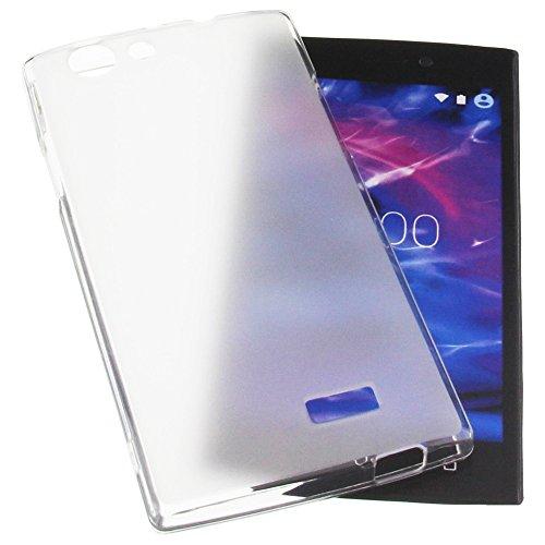 foto-kontor Tasche für MEDION Life E5005 Gummi TPU Schutz Handytasche transparent weiß