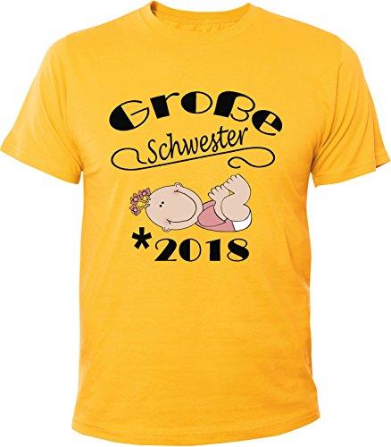 Mister Merchandise Herren Men T-Shirt Große Schwester - 2018 Tee Shirt bedruckt Gelb