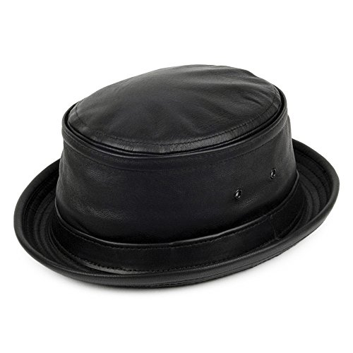 New York Hat Co. Leder Fischerhut - Schwarz - L (York - Herren-leder New)