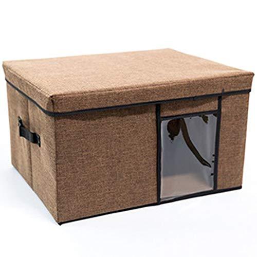 Braun Multi-funktions-stoff (Gkingif Faltschachtel Stoff Multi-Funktions-Aufbewahrungsbox Perspektive Kleidung Aufbewahrungsbox Waschbar Solid Color Aufbewahrungsbox Abgedeckt (Farbe : Braun, Größe : 50cm*40cm*30cm))