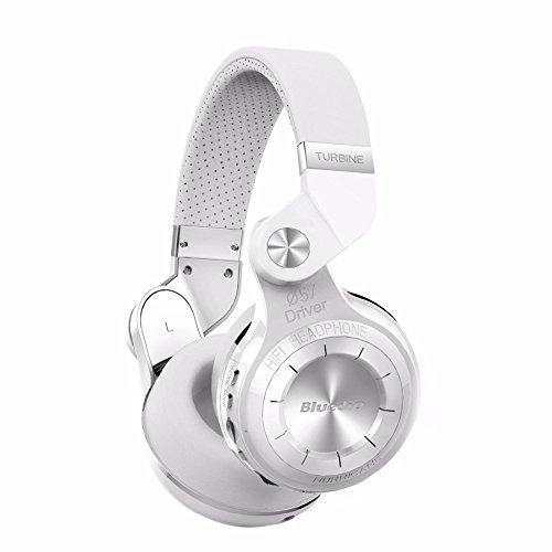 Bluedio T2 (Turbine 2) Hurricane Turbine Dynamic 4.1 Bluetooth On-Ear Over-Ear Wireless Stereo Headphone with Microphone, 57mm Drivers, 195° Rotary Folding, White
