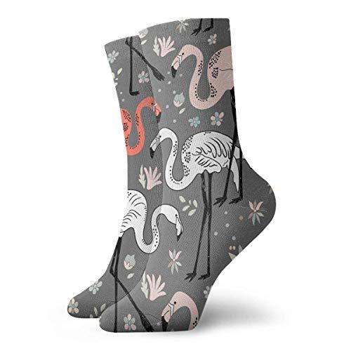 Funny&shirt Sportliche Knöchelsocken für Erwachsene, Flamingo-Muster, 30 cm - Sportliche Ped Socken