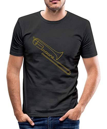 Posaune Männer Slim Fit T-Shirt, XL, Schwarz