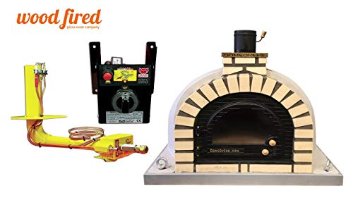 Grey Tudor Wood Fired Pizza Oven, Cast Iron Glass Door, Double Insulation, with gas burner, 110cm x 110cm
