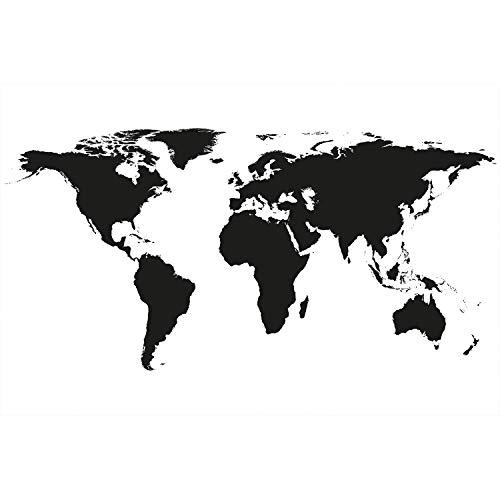 GREAT ART XXL Poster - Weltkarte Schwarz-Weiß - Wandbild Dekoration Landkarte Kontinente Map of The World Globus Erde Welt Erdkunde Wandposter Fotoposter Wanddeko Bild (140 x 100 cm)
