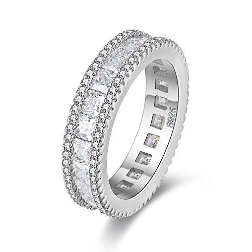 Uloveido Mädchens Platin Überzogene Simulierte Diamant Ewigkeit Band Ring Hochzeit Verlobungsbaguette Cut Zirkonia Jubiläum Ring für Frauen Mädchen Größe 54 (17,2) PJ4279