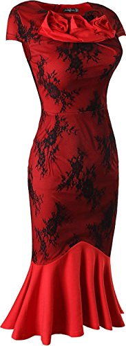Jeansian Femme Sexy Parti Cocktail Fashion Womens Robes Lady Casual Temperament Slim Crayon Evening Dress WKD289 red