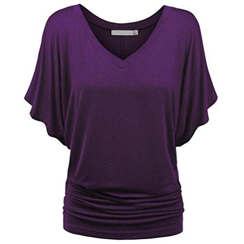 MRULIC Damen Pure Casual T-Shirt Top Tiefem V-Ausschnitt Bluse Plus  Größe(A-Lila,EU-38 CN-S) 62c26e0d09
