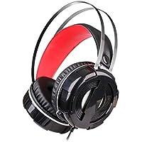 YUIK Stereo Luz Gaming Headset Surround Sound Bajo Auriculares con cancelación de Ruido de micrófono for PC portátil (Color : Black)