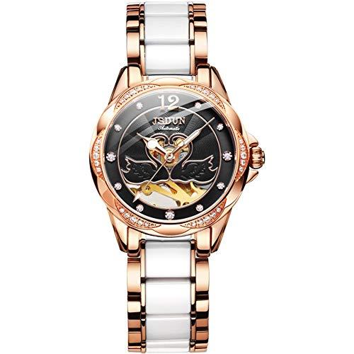 GYJUN Damen uhren Automatische wasserdichte Uhren Herzförmig Leuchtzifferblatt Edelstahl- und Keramikarmband Mode Luxus mechanische Uhren,Black (Uhren Frauen Luxus Mode)