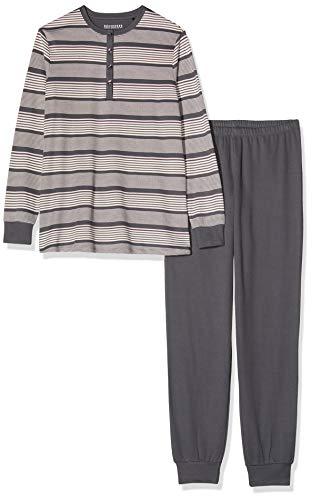 Schiesser Damen Anzug lang 167641 Zweiteiliger Schlafanzug, Grau (Graphit 207), 44