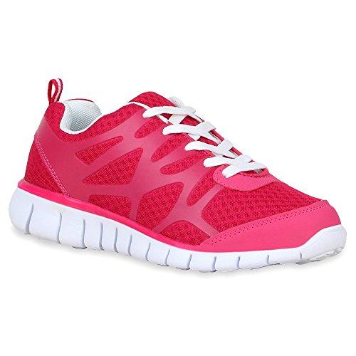 Damen Schuhe Laufschuhe Sneaker Runners Profilsohle Pink
