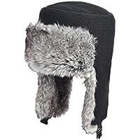 Zxcvb Sombrero Invierno Masculino Más Terciopelo al Aire Libre Viejo Lei Feng Sombrero Noreste Frío Acolchado Almohadillas Superior Plana (Color : Negro, tamaño : One Size)