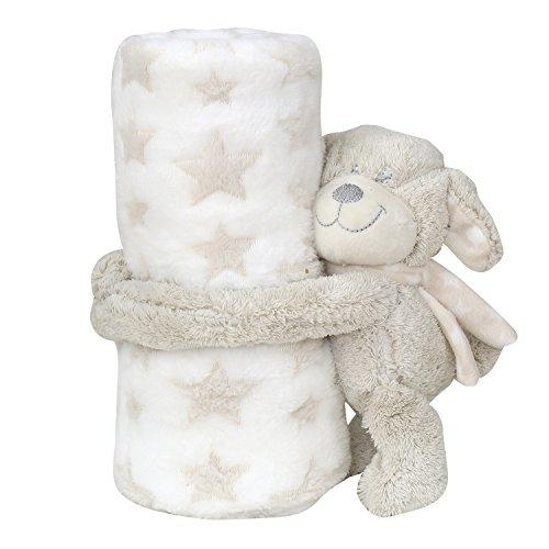 Zuckersüße Baby Kuscheldecke mit Stofftier, flauschige Schmusedecke , ideal als Geschenk BF 139 (Weiß / Bär)