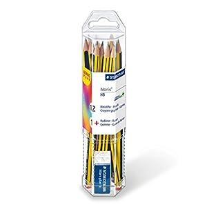 Staedtler Noris 61 120 P1. Lápices de madera certificada. Paquete con 12 lápices HB y una goma de borrar.