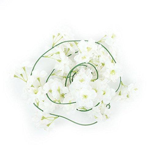 VelvxKl Schöne künstliche Kirschblüte Blumen Vine Wedding Arch Wanddeko 200cm