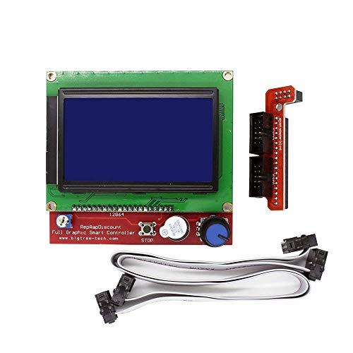 Triggo 12864 LCD Graphic Smart Display Controller Board mit Adapter und Kabel für 3D Drucker Ramps 1.4 RepRap Mendel Prusa Arduino (Matrix-rampen)