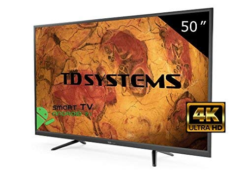 Televisore Led 50 Pollici Ultra HD 4K Smart TD Systems K50DLY8US. Risoluzione 3840 x 2160, 3x HDMI, VGA, 2x USB, Smart TV