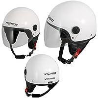 Casco Jet Demi Scooter Moto Omologato ECE 22 Visiera Antigraffio Bianco XL