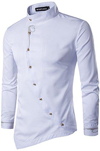 Whatlees Herren Urban Basic Lang Geschnittenes Hemd mit Asymmetrisches und aufgesticktes Design Stehkragen B404-White-L (Jeans Original Fit Mädchen)