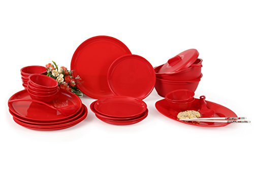 Joy Home Microwave Safe Dinner Set - 32 Pcs (Round, Cherry Red)