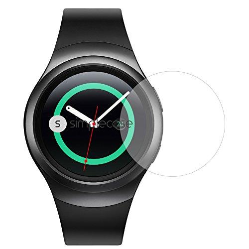 Simplecase Panzerglas passend zu Samsung Gear S2 , Premium Bildschirmschutz , Schutz durch Extra Härtegrad 9H , Case Friendly , Echtglas / Verb&glas / Panzerglasfolie , Transparent - 1 Stück