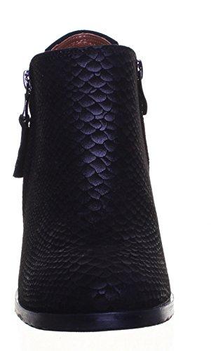 Justin Reece Mid talon cheville bottes en cuir pour femme Fermeture Éclair Latérale Taille UK Black FF