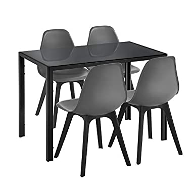 [en.casa] Essgruppe für 4 Personen Esstisch Weiß + 4 Stühle Weiß/Schwarz Küchentisch Esszimmertisch mit Esszimmerstuhl