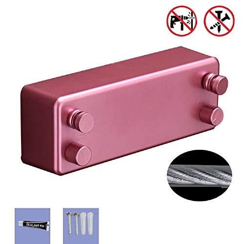 YLOVOW Versenkbare Wäscheleine Wäschetrockner aus rostfreiem Stahl mit Verstellbarer Edelstahlschnur Hotelstil Schwere, stanzfreie, Nicht sichtbare Wäscheleine,Pink,Doubleline - Versenkbare Wäschetrockner Wäscheleine