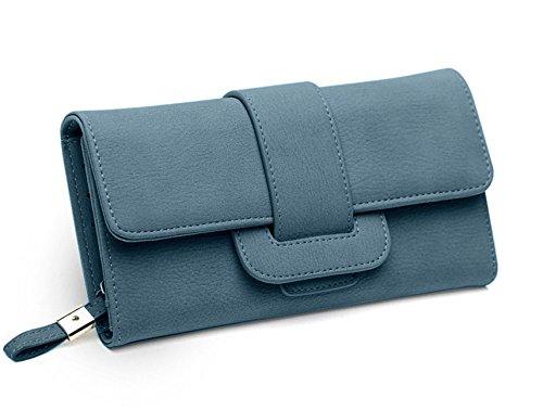 DNFC Geldbörse Damen Portemonnaie Lang Portmonee Elegant Clutch Handtasche Groß Geldbeutel PU Leder Geldtasche mit Reißverschluss und Druckknopf für Frauen Neu Design (Blau)
