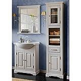 Lomadox Landhaus Badezimmermöbel Set 3-teilig ● Kiefer Massivholz weiß Gebleicht ● 65cm Waschtischunterschrank mit Keramik Waschbecken, Spiegel und Hochschrank