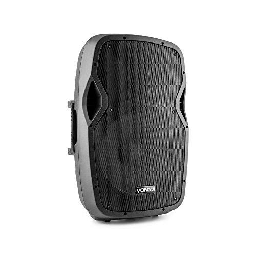 Vonyx AP1500 A AP Series – Lautsprecher ABS, Schwarz (600W Leistung, 15 Zoll (38 cm) 2-Wege-Lautsprecher, Stativgewinde)