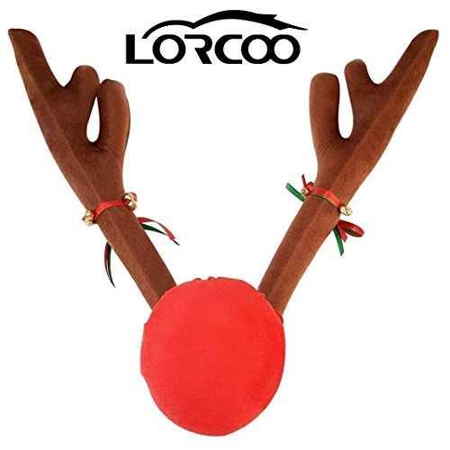 Price comparison product image Lorcoo Christmas Car Reindeer Antlers and Red Nose Set, 45CM Plush Deer Reindeer Antlers for Decor Your Car- Christmas Decoration