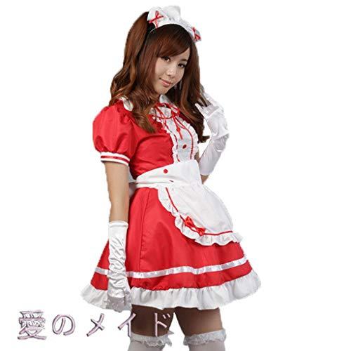 Lilongjiao Frauen Anime Cosplay Französisch Schürze Maid Kostüm Maid Kostüm Cosplay Maid Restaurant Maid Dress Up COS Anime Kostüm Black and White Maid (Color : Red, Size : XXXL)