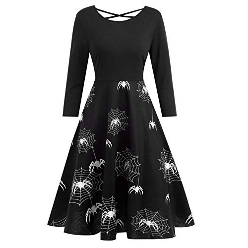 Qiusa Frauen Kleider, Halloween Damen Sexy Vintage Spider Web Verband gedruckt Kleid Flare Abend Party Kleid (Farbe : Schwarz, Größe : XXL) (Spider Web-schwarz Halloween Licht)