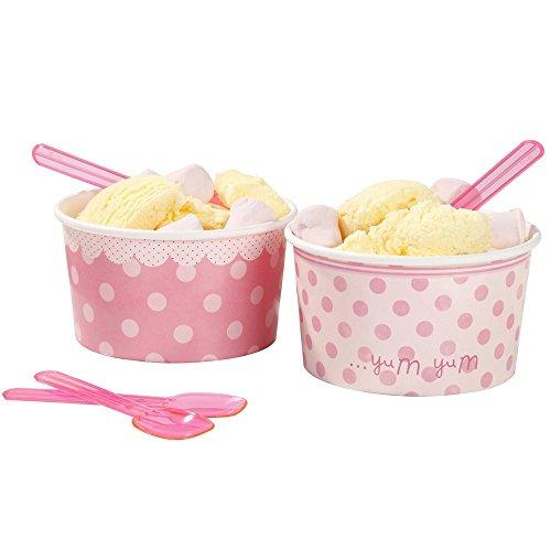 Talking Tables Pink-n-Mix Boîtes fête bols et cuillères, papier, Rose, Lot de 8