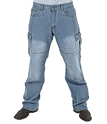 Juicy Trendz Men's Motorcycle Motorbike Dull cargo Pants Protective Lining 14oz Denim Jeans Blue W32 L30