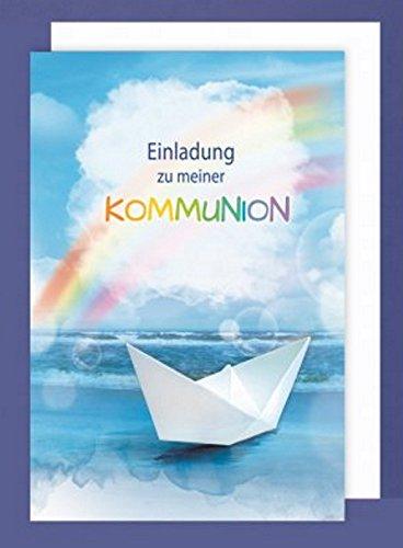 (Feste Feiern zur Kommunion I 5 Teile Einladung Doppelkarten mit Briefumschlägen I Boot Regenbogen bunt)