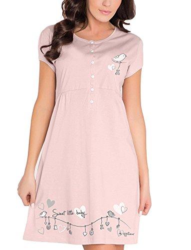 Dn-Nightwear TCB.7029 Délicate Et Confortable Chemise De Nuit De Maternité Moka