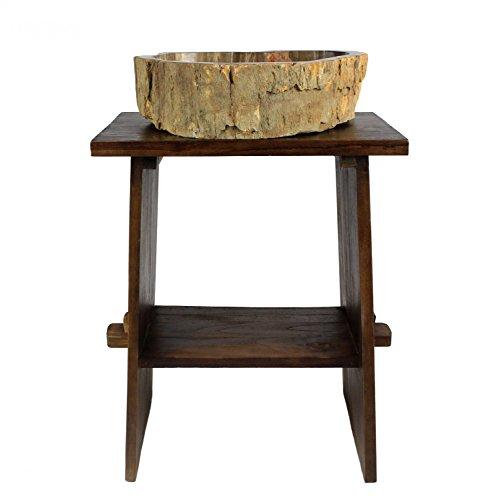 Waschtisch Holz Waschbeckenunterschrank Tisch Badmöbel Badezimmermöbel Teakholz Dunkelbraun 60 cm Breite