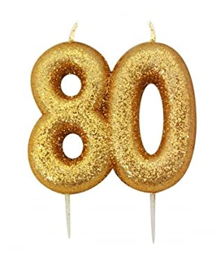 Gold Number Candle - 80 by Anniversary House
