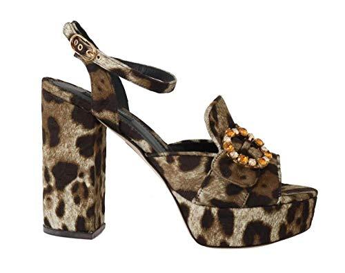 Dolce & Gabbana - Damen Sandalen - Brown Leopard Brocade Crystal Sandal - EU 39 - Gabbana Leopard