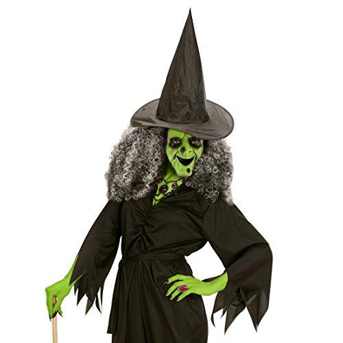 PVC Hexenmaske Hexen Maske grün Halloweenmaske Hexe Böse Zauberin Faschingsmaske Horrormaske Witch Magierin Märchen Horrormaske (Masken Hexe)