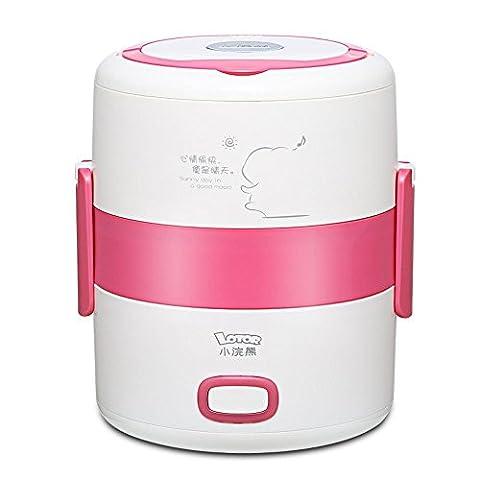 LIUYU 3 Layer Lunch Box Electric Portable Cuisinière multi-cuisinière / Riz Steamer Cuisinière lente 1.6L Litre Multifonction Inox Boîte de chauffage en pot intérieur (Sky Blue),Rose